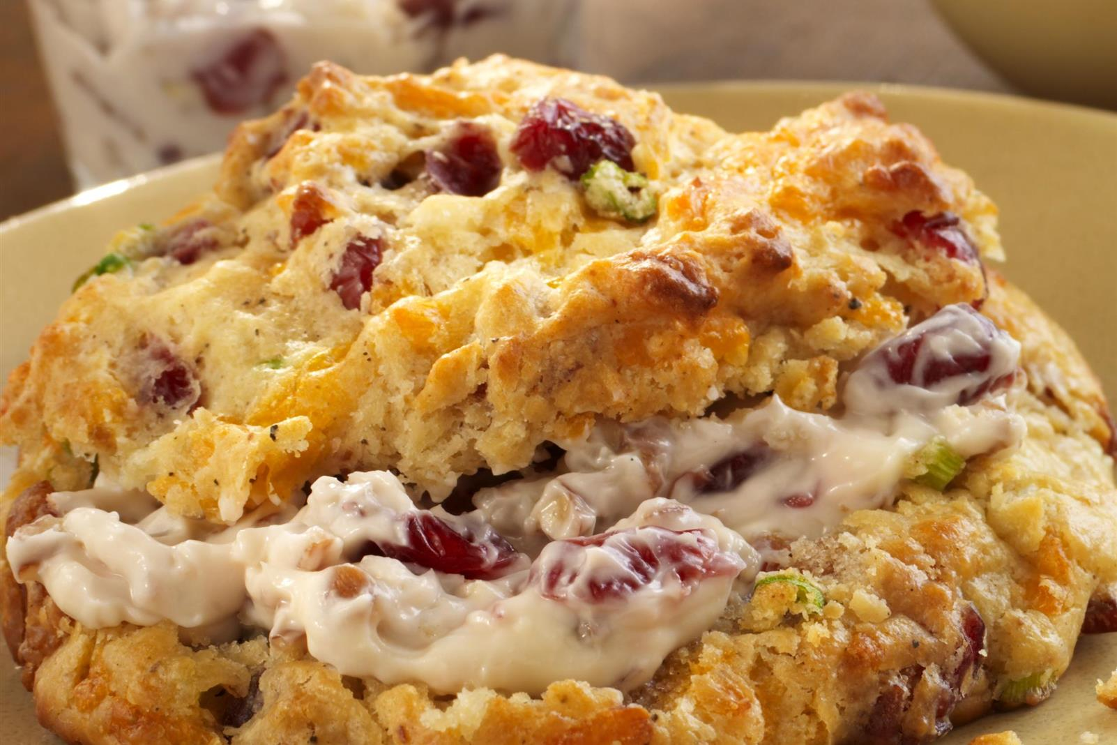 Cranberry Bacon Brunch Scones with Cranberry-Pecan Cream Cheese