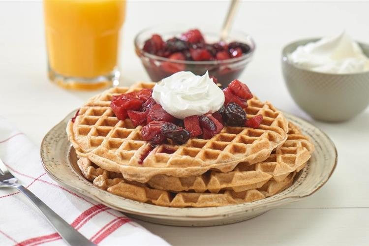 Waffles with Cherry Berry Sauce