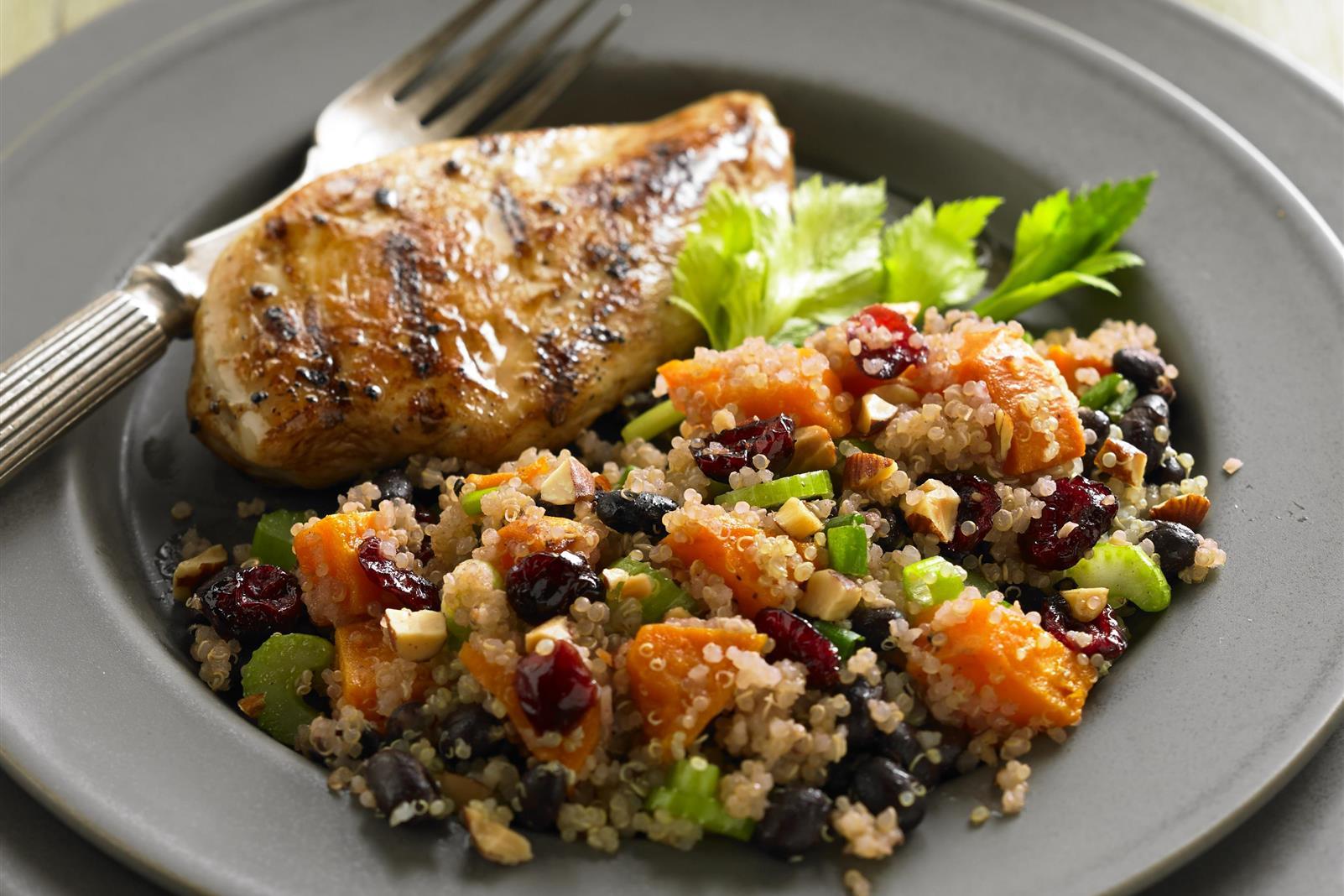 Quinoa-Black Bean Salad with Ruby Cranberry Dressing